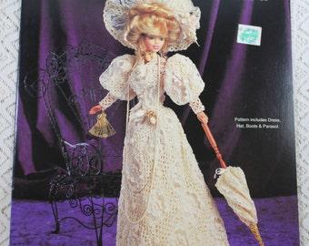 Paradise Publications, 1903 Bride's Going Away Dress Crochet Pattern, Crochet Collector Costume, Volume 59, Fashion Doll Crochet Pattern