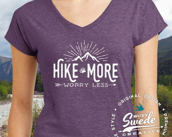 Hiking Shirt ~ Hike More Worry Less Ladies' V-Neck T-Shirt- adventure camping shirt, outdoors, wanderlust shirt, arrows, women's v-neck