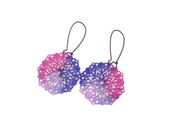 Pink Blue Earrings - Round Earrings - Unicorn Jewelry - Gift for Girl - Lightweight Earrings - Floral Earrings - Everyday Jewelry