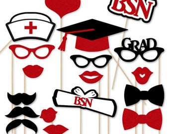BSN Nurse Graduation Party Photo Booth Props 18 pc bsn Prop Set RN Nurse Party Nursing School Graduation Nurse Gifts LPN Cna Red