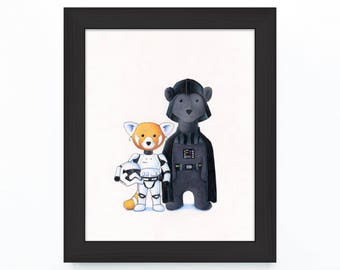 Walter the Red Panda and Jack the Polar Bear as a Stormtrooper and Darth Vader Tribute to Star Wars 8 x 10 inch Print by SBMathieu