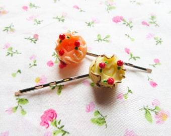 Kawaii & Sweet Lolita Cake Hair Pins/ Bobby Pins, Cute Hair Pins/ Bobby Pins, Cake, Cute, Teen/ Girls Gift