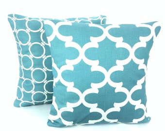 SALE Blue Pillow Covers, Decorative Throw Pillows, Cushions, Regatta Blue Off White Fynn Links Moroccan Couch, Set of 2 Various Sizes