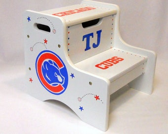 Large Personalized Two Step Stool with Chicago Cubs Baseball