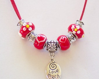 Red Heart Glass Bead and Charm Necklace, European Murano Beads, Red Hearts, Flowers, Love Much, Laugh Often, Lampwork Glass Beads, Valentine