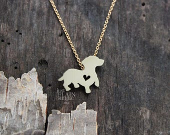 Dachshund necklace, BRASS hand cut pendant, with heart, with 14K gold filled chian, tiny dog breed jewelry
