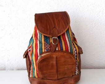 Leather & Hmong Backpack.