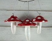 Woodland Glitter Red Toadstool Ornaments - Trio of Rustic Mushroom Christmas Decorations