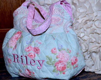 Little Girls Purse ~ Quilted & Lined ~ Personalization Option ~ Shabby Chic Print