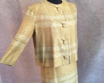 Vintage 60's Skirt Suit, Pencil Skirt, Cropped Jacket, Yellow Skirt Suit, Light Gold Yellow, Women's Size XS to Small, Waist 25