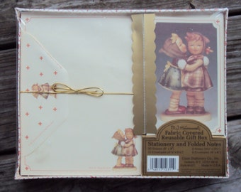 MJ Hummel Stationery and Folded Notes, Telling Her Secret, Fabric Covered Reusable Gift Box, Unopened
