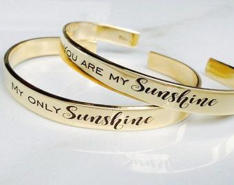 You Are My Sunshine Cuff Bracelet . Best Friend Bracelets . Engraved Cuff . TB&Co