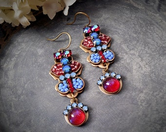 Ethereal Blue Earrings Pink Dragons Breath Opal Earrings Red Blue Violet Periwinkle Blue Rhinestone Art Earrings Garden Wedding Bridesmaid