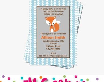 Fox Baby Shower Invitations | Woodland Baby Shower Invites | Forest Animal Baby Shower Invitations | Printable Invitations /Digital File