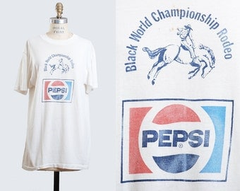 Vintage 80s PEPSI TShirt Black World Championship Rodeo Shirt / 1980s Graphic Shirt Vintage Tee Retro Cowboy T Shirt Medium large m l