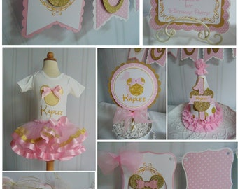 Minnie Mouse pink and gold 1st birthday decorations - banner-invitation-1st year photo banner-high chair banner-1st birthday outfit