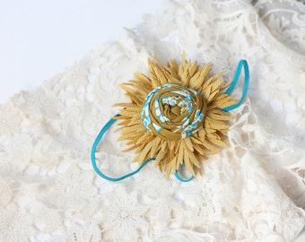 Overstock destash - you pick mustard burnt orange or ivory flower headband bow