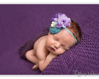 Dream a Little- teal lavender and purple chiffon and rosette heaband bow