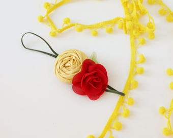 Tale As Old as Time - metallic yellow and red rose rosette and chiffon flower headband inspired by beauty and the beast