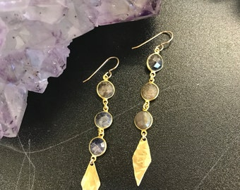 3 Stone Cascade Earrings in Sapphire