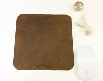 Desk Accessory Leather Mouse Mat Personalised Custom Leather Desk Blotter Mouse Mat Monogram Minimal Brown Custom Home Office Desk Mat Pad