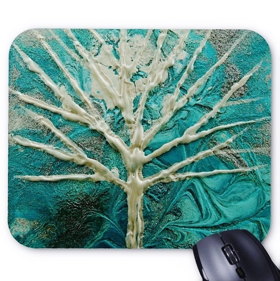Mousepad Mouse Pad Fine Art Painting Abstract Turquoise Winter Snowy Tree Fine Art Contemporary Modern Blue Green Snow White Trees Blue New