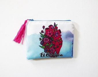Heart purse, original illustration. 10.5 x 13 cm.