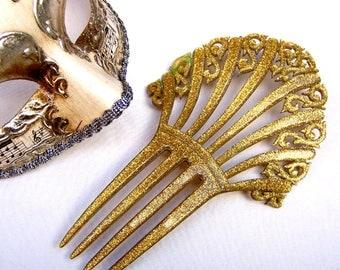 Art Deco hair comb Spanish mantilla style confetti Lucite gold tone hair accessory hair pin hair pick