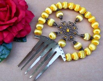 Traditional Spanish mantilla Art Deco style hair comb hair accessory yellow satin balls decorative comb headdress headpiece