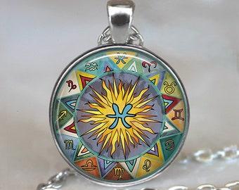 Pisces Bohemian Zodiac necklace, Boho Pisces necklace Pisces pendant Zodiac jewelry Zodiac necklace Zodiac pendant astrology key chain