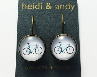 Hypoallergenic , Bicycle earrings , Bronze , Earring loop , French Lever Back , Cyclist , Sport earrings , White , Blue , Jewelry , Gift