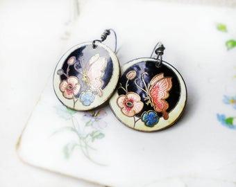 Altered Metal Earrings | Vintage Enameled Metal Discs | 1970s Art Nouveau Revival | Pink Butterflies & Flowers | Sterling Silver Wires