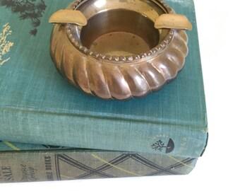 Vintage Brass Ashtray, Small Round Heavy Ashtray, Made in India