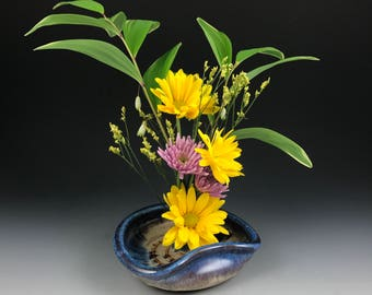 Ikebana Vase - Flower Tray - Flower Dish- Flower Bowl with Blue Glazed Rim - In Stock and Ready to Ship