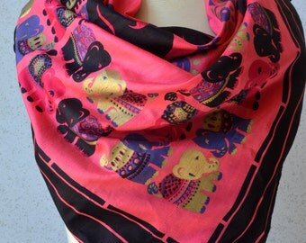 Vintage silk square scarf: Elephants, pink, gold, black, thailand, large