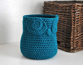 Teal Owl Basket Crocheted Bin Yarn Holder Nursery Decor Home Organizer Custom Colors