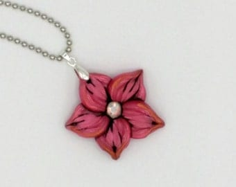 Red Flower Necklace, 1.5 Inches Diameter; Crimson Plumeria; Polymer Clay Pendant; Floral Necklace; Winter Fashion; Style #: REF04