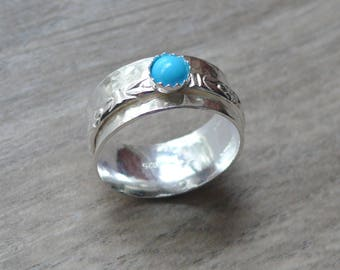 Sterling silver turquoise ring silver spinner ring spinning fidget anxiety ring worry ring sterling silver ring