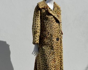Vintage FAUX LEOPARD fur coat 60's mod coat animal print vegan coat medium to large by thekaliman