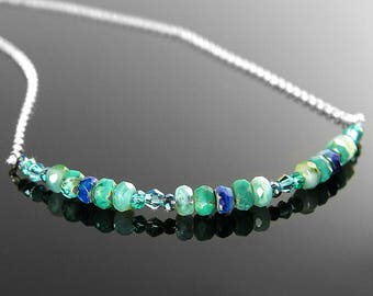 Dainty Bohemian Glass Necklace, Blue Teal Necklace, Sterling Silver Chain Beaded Bar Necklace, Mixed Color Sea Green Necklace Simple Jewelry