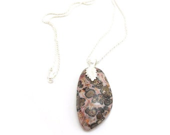 Stone Pendant Necklace/ Fossil Jasper Necklace/Sterling Silver Rope Chain/Pink & Brown Jasper Pendant/18-Inch Silver Chain/Silver Leaf Bail