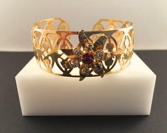 Art Deco Jewelry, Cuff Bracelet, Vintage Jewelry, Red Rhinestone Bracelet, Vintage Bracelet, Wide Filigree Bracelet, Flower Rhinestone