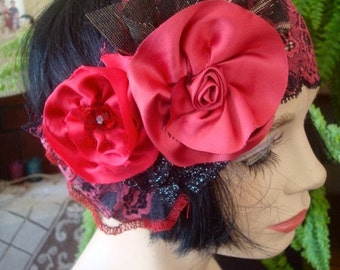 Flapper headband lace wide headpiece turban red roses art deco evening band headwrap