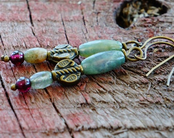 Jasper Earrings, Garnet Earrings, Green and Red Earrings, Natural Jewelry, Rustic and Simple, Romantic Earrings