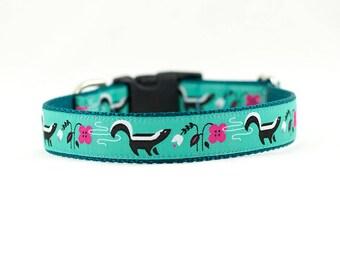 """1"""" Skunk Dog Collar, Skunk Collar, Forest Animals Dog Collar, Whimsical Dog Collar, Buckle Collar, Martingale, 1"""""""