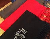 Monogrammed scarf, monogrammed scarves, monogram scarf, monogram scarves, scarf with monogram, fringe scarf with monogram, gift idea, scarf