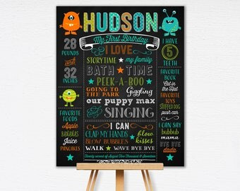 Monster First Birthday Chalkboard Poster | Celebration Poster | Monster 1st Birthday | Birthday Poster | DIY | Printable  1006
