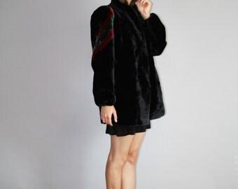 90s Black Avante Garde Colorful Faux Fur Coat  - Vintage Faux Fur Coats   - Rainbow Fur Coat    - W00099