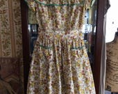 Vintage 1930s Skirt & Romper Ensemble One Piece Romper W/OverSkirt Brown Floral With 3 Matching Bows Home Hand Made Cotton Blend Plisse