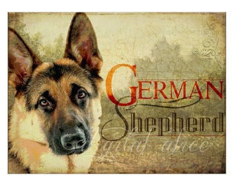 Dog Lovers Art - GERMAN SHEPHERD DOG Police Dog - Vintage Look Contemporary Art Print Poster - Artist signed - 3 sizes - customizable